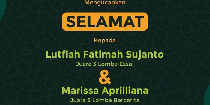 Lutfiah Fatimah Dan Marissa Aprilliana Juara 3 Dalam Festival PAI Se-Jawa Barat UNINUS