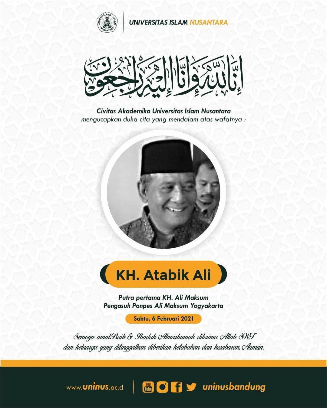 Duka Cita Yang Mendalam Kami Sampaikan Untuk KH. Atabik Ali (Putra Pertama KH. A…